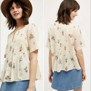 Anthropologie Short Sleeve Flowery Blouse